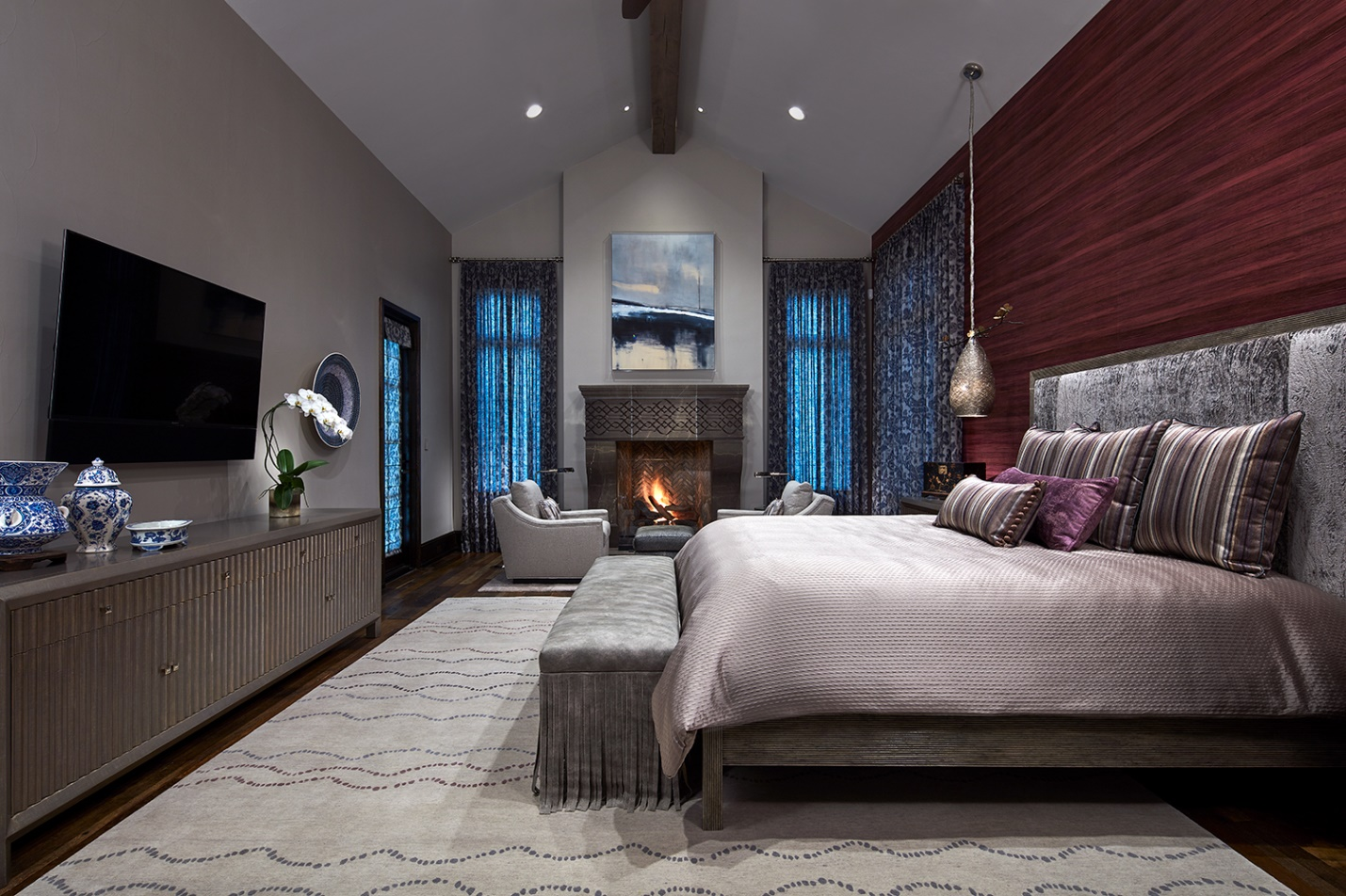 master bedroom with custom media console