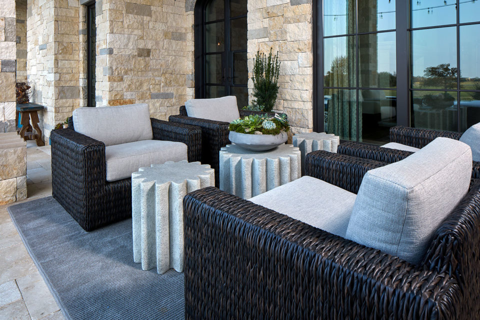 Outdoor Cocktail Tables with Woven Upholstered Club Chairs