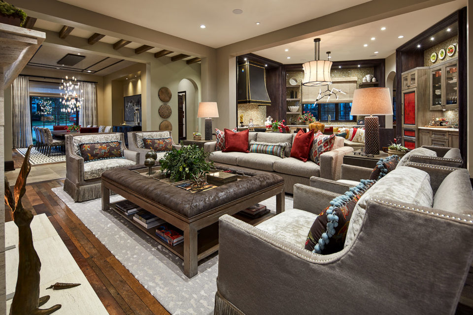 Open Floor Plan Family Room with Upholstered Cocktail Table