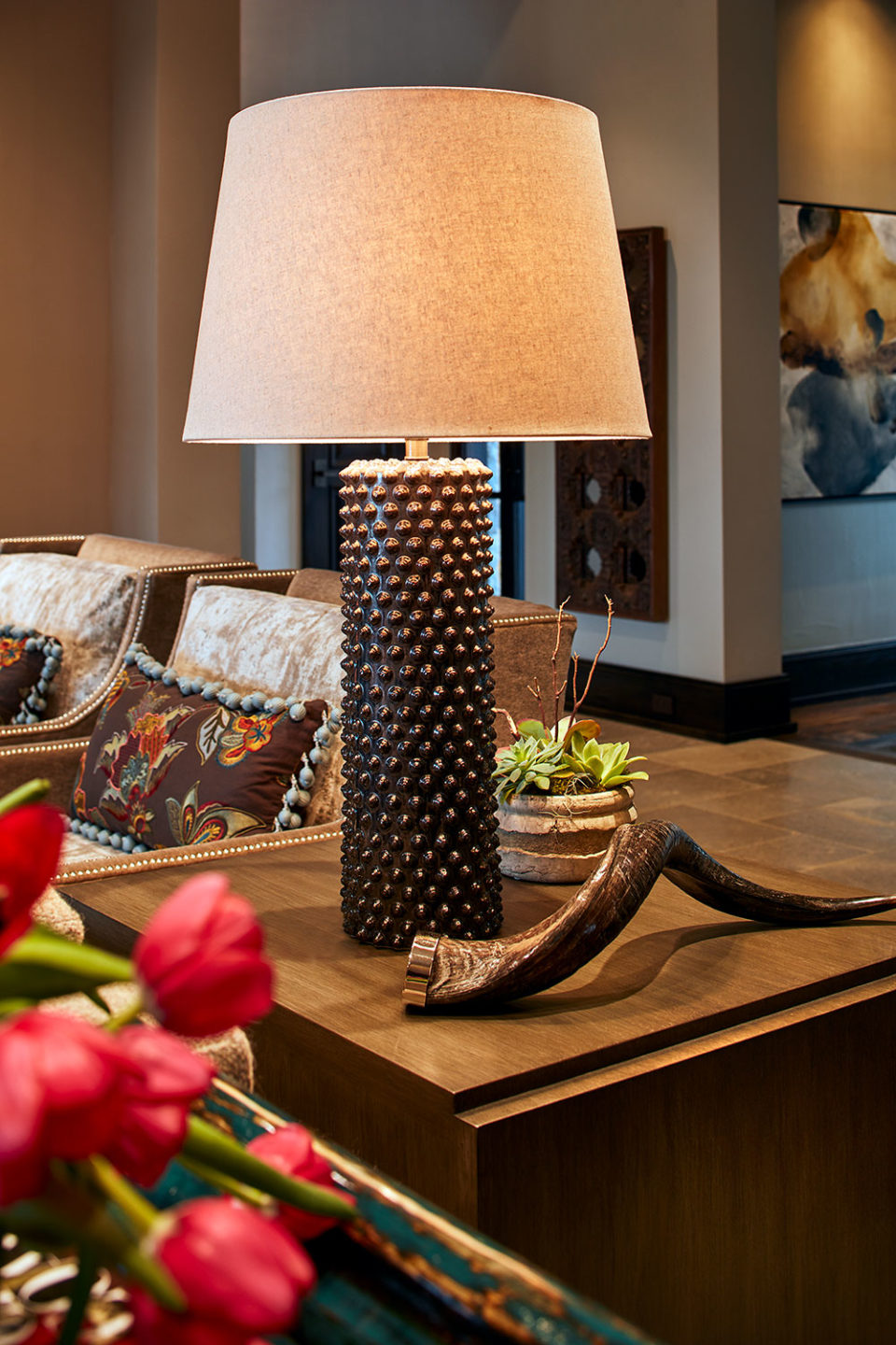 Textural Bronze Table Lamp with Sheep's Horn