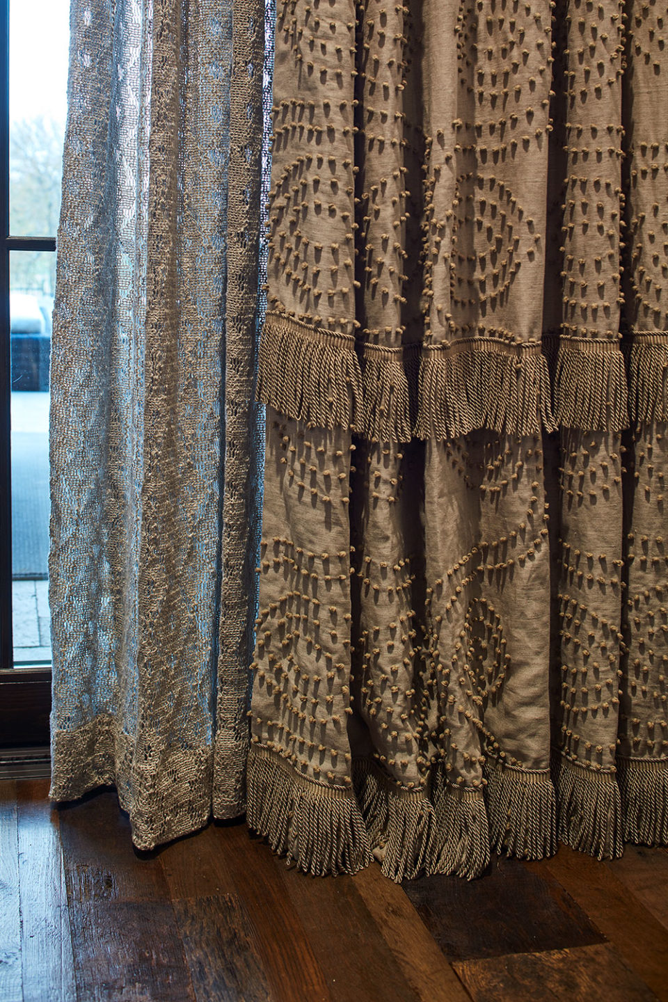 Embroidered Window Panels with Lace Sheers