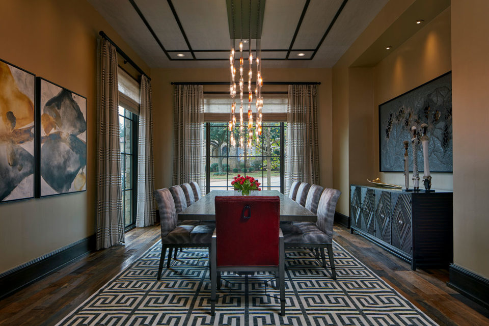 Dining Room Table for 10 with Cluster Chandelier, Custom Rug and Ceiling Detail
