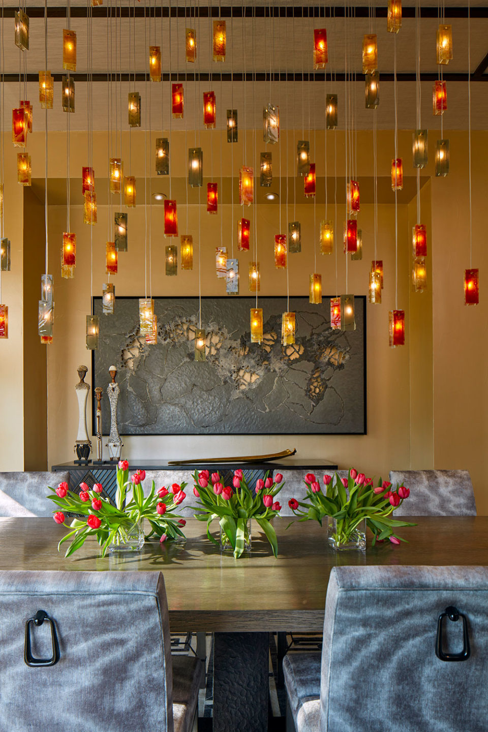 Art Glass Chandelier in Red and Gold Hues in Dining