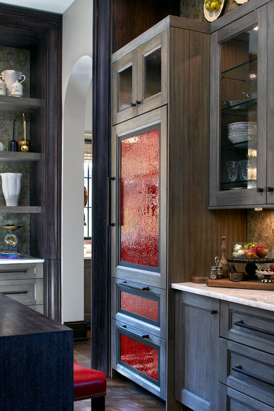 Red Blown-Glass Panels on Fully Integrated Refrigerator