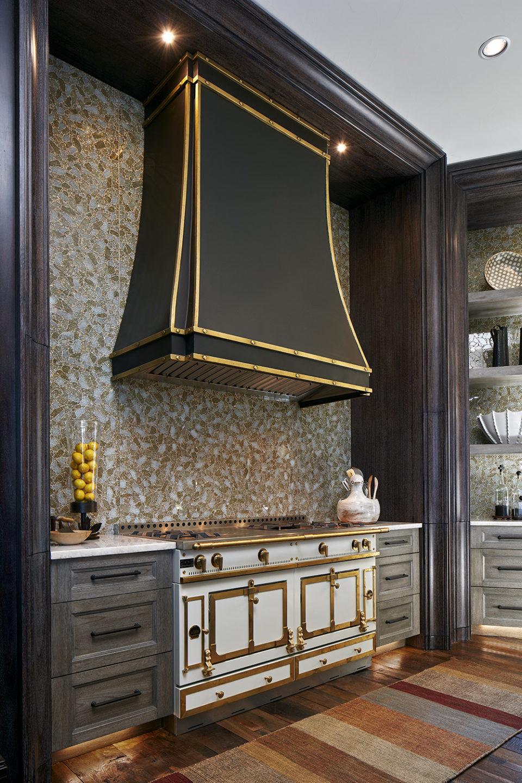 Gold Details on La Cornue Range and Black Range Hood
