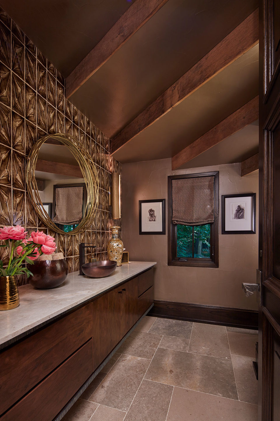 Powder Room with Bronze Vessel Sink, Tile Wall and Gold Mirror