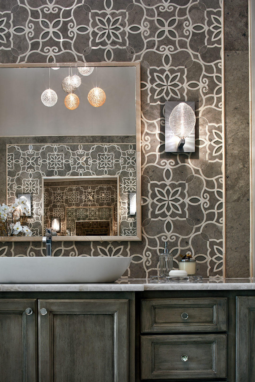 Master Bathroom Vanity with Art-Inspired Backsplash