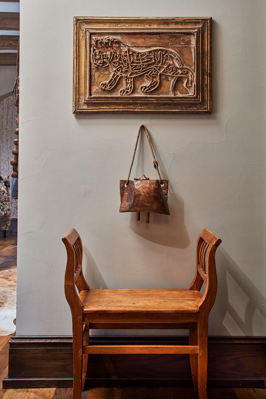 Hallway Vignette with Carved Wood Lion Art