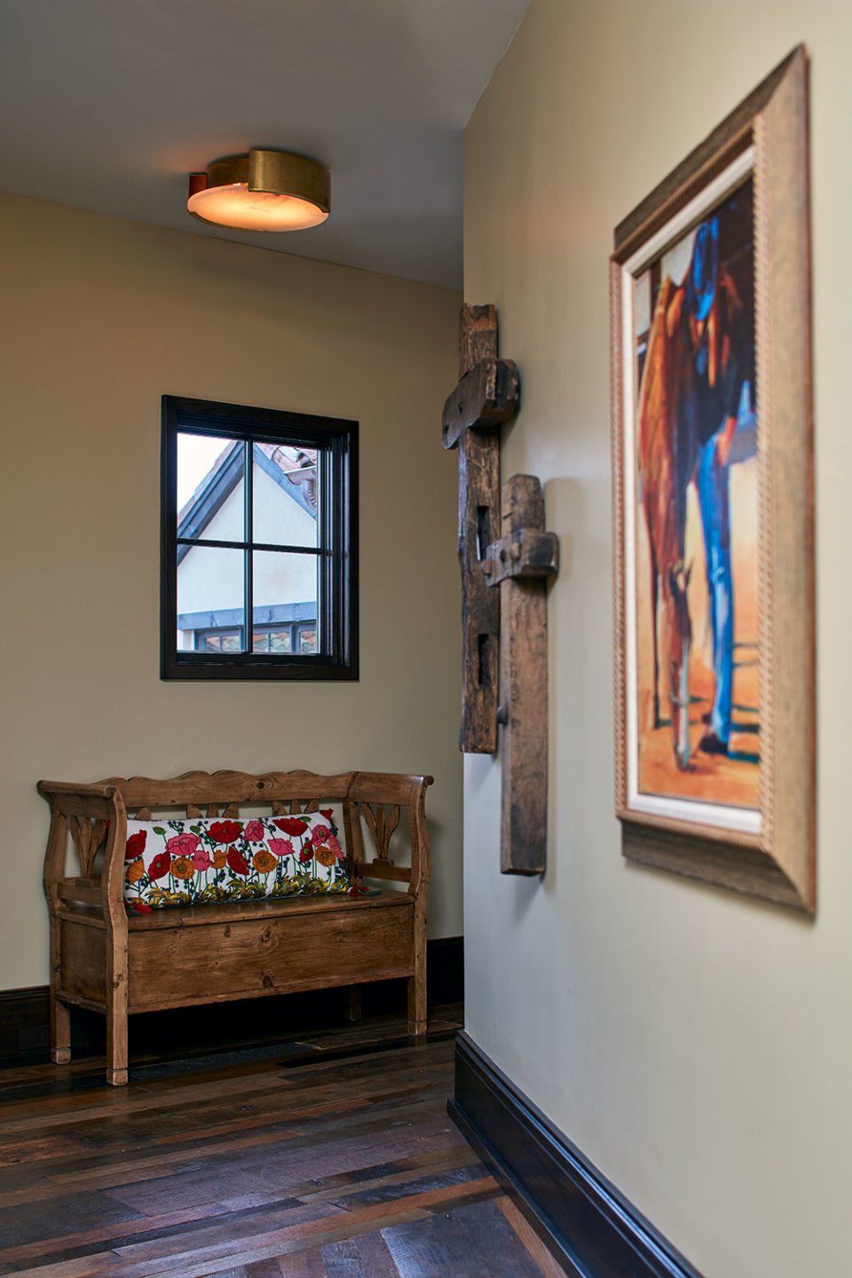Rustic Hallway with Southwestern Art and Craftwork