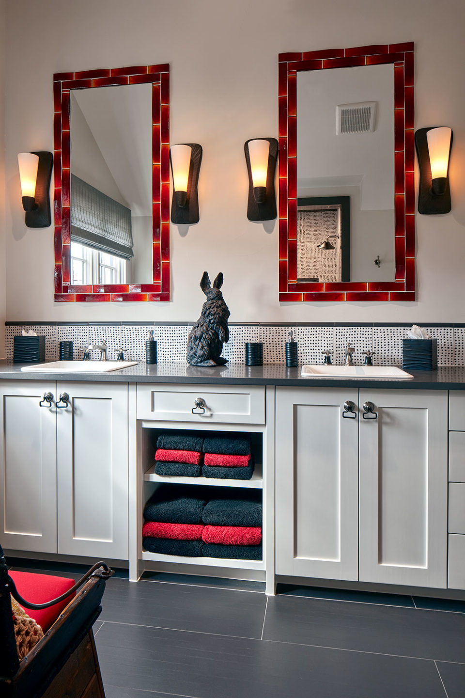 Red, Black and White Ensuite Bathroom