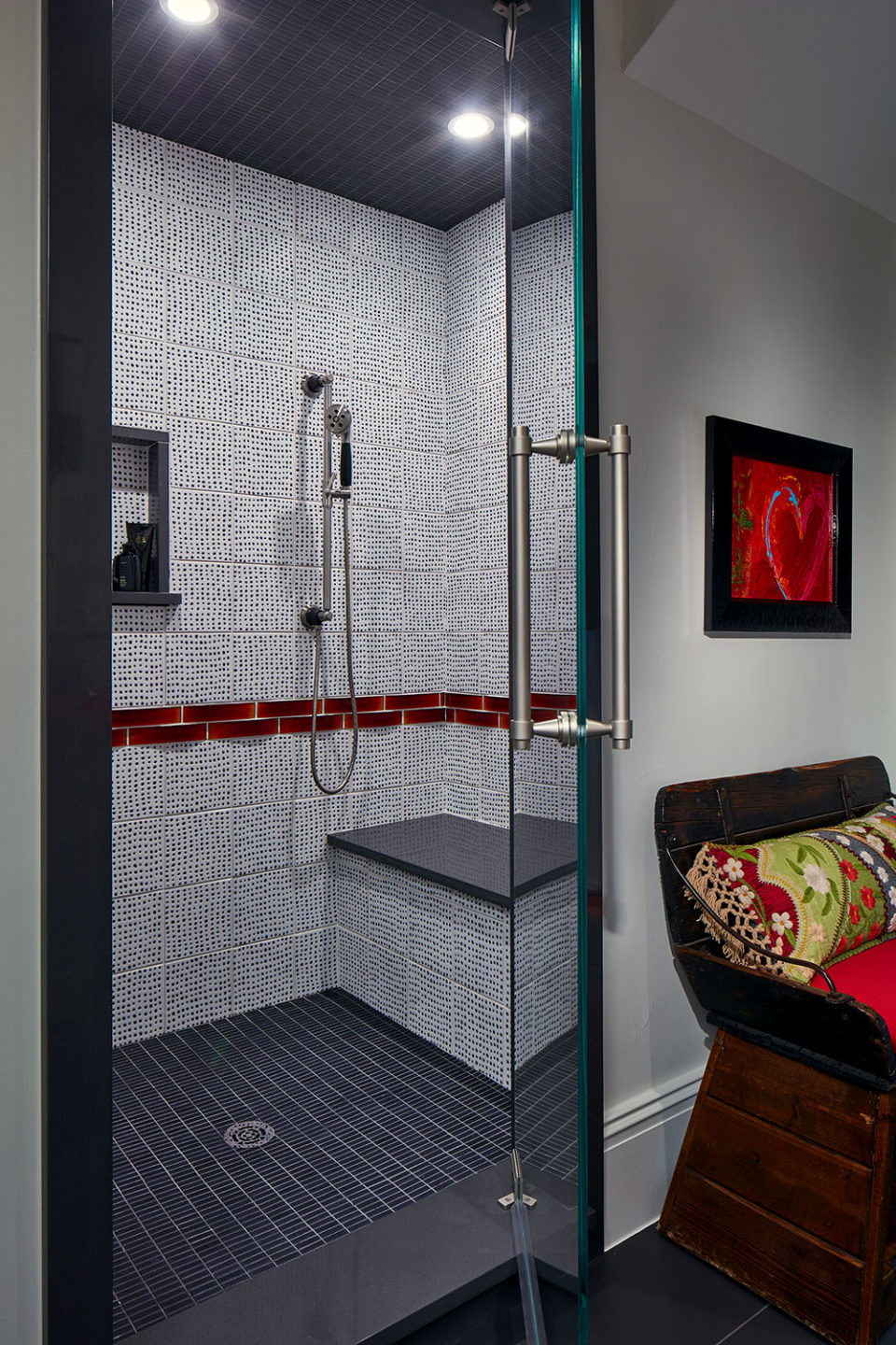 Black and White Shower with Red Glass Border Tiles