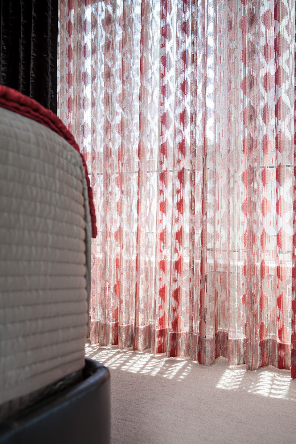 Geometric Sheers in Red and Grey