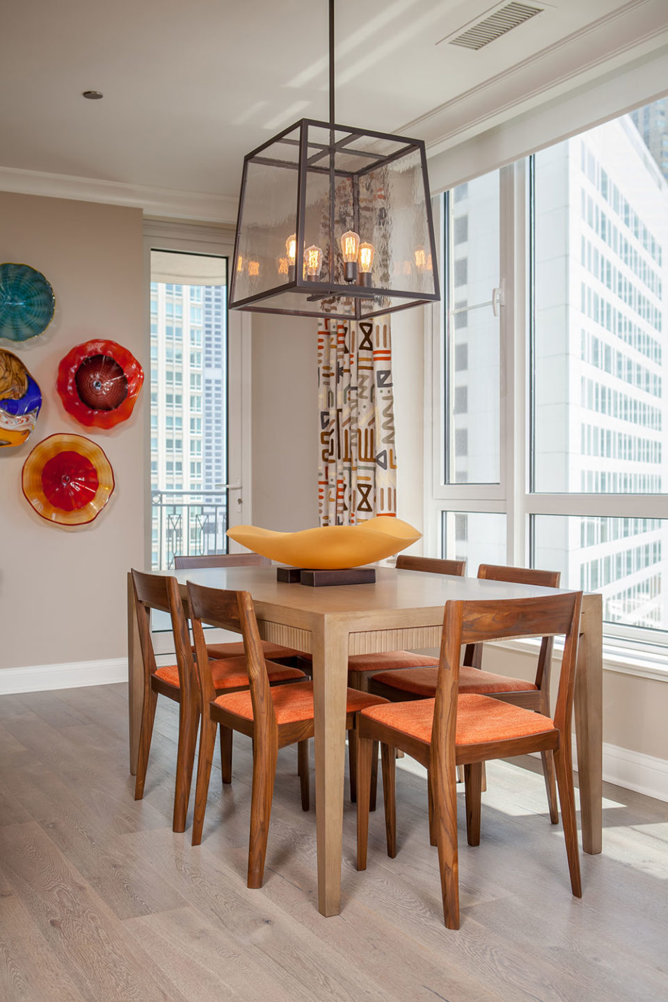 Mid-Century Modern Chairs in Colorful Breakfast Area