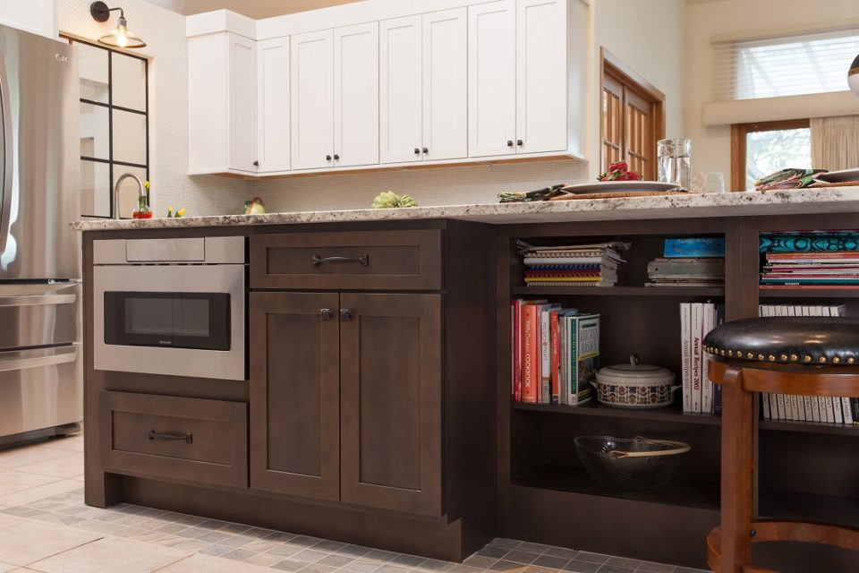 Island with Microwave Drawer and Cookbook Storage