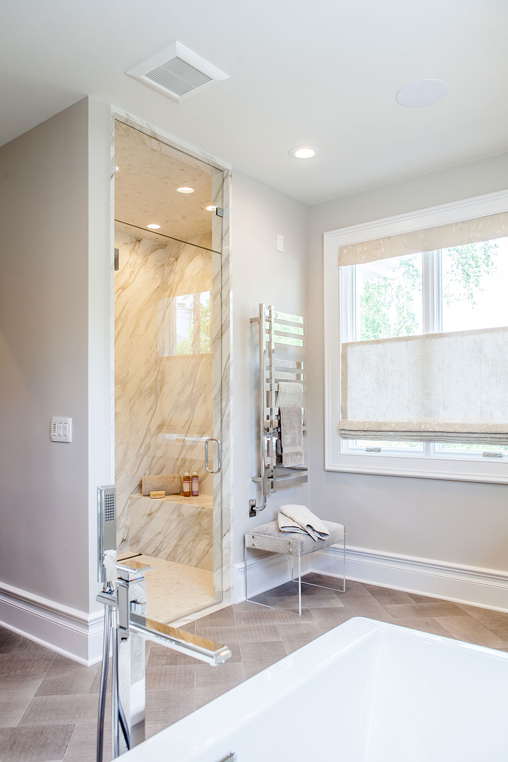 Large Steam Shower with Custom Amenities