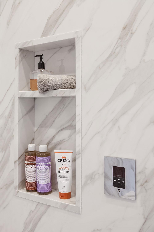 Shower Niche in Faux Marble Shower