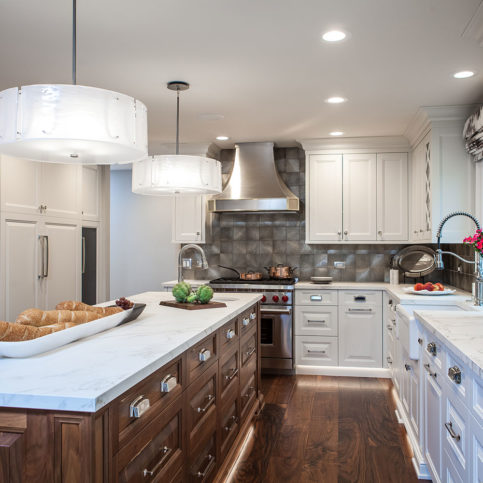 White-and-Wood Stained Kitchen