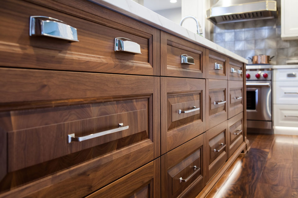 Stained Wood Island Drawers Versus Cabinets