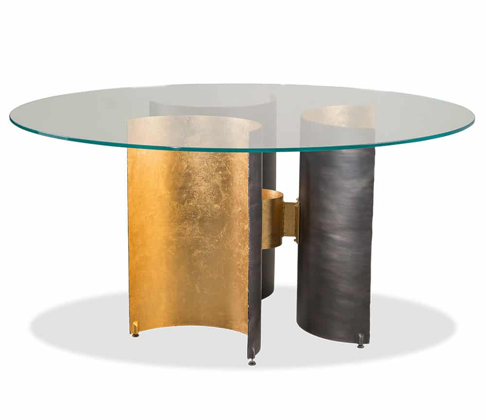 abner henry metal and glass table