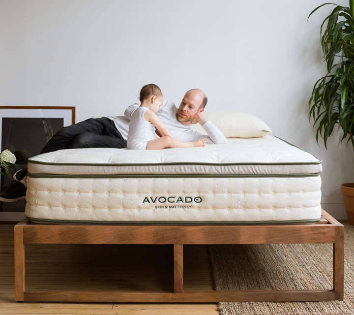 avocado green mattress with father and child
