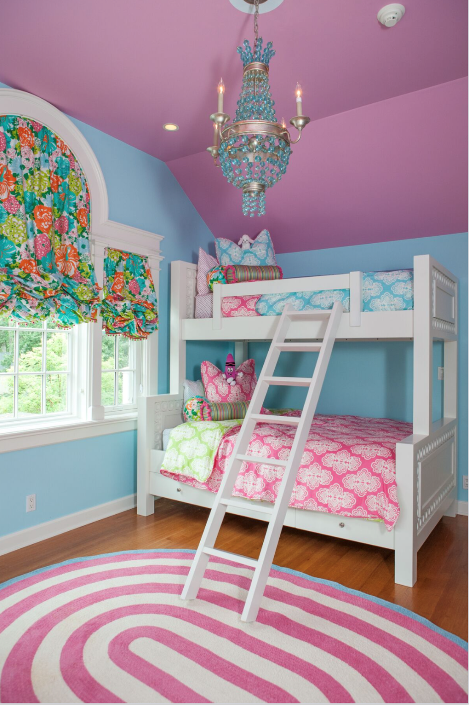 white bunkbeds in colorful child's bedroom
