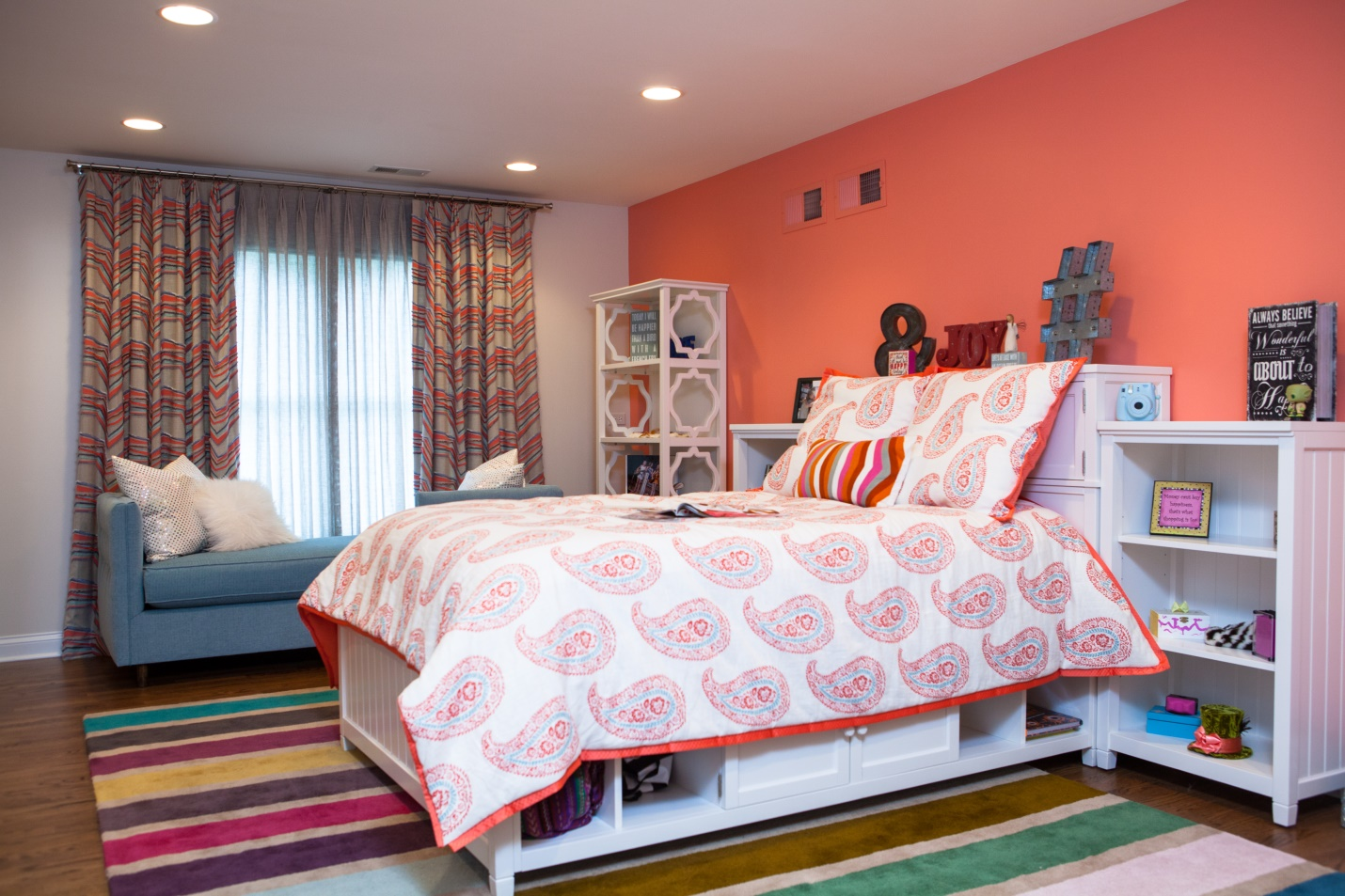 multi-color child's bedroom with lots of built-in storage