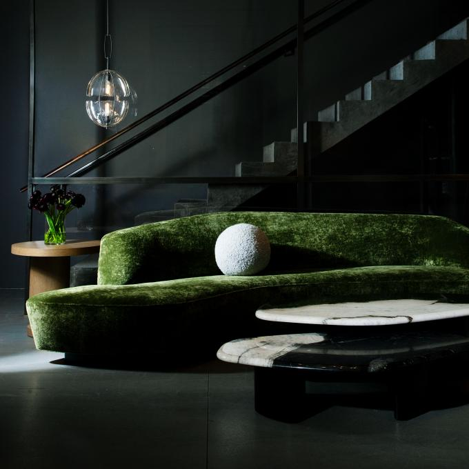 holly hunt green sofa