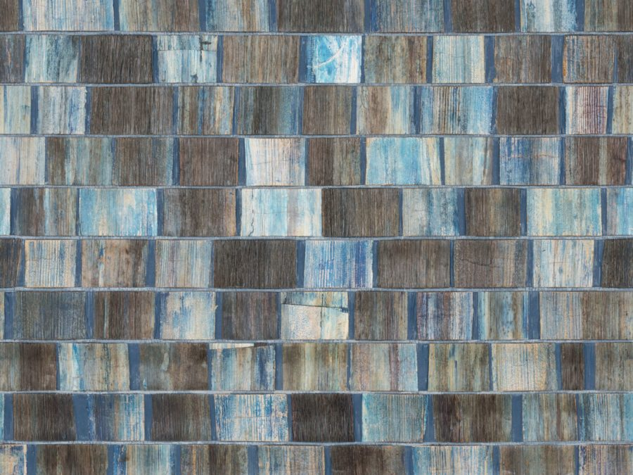 omexco wall covering in blue and brown