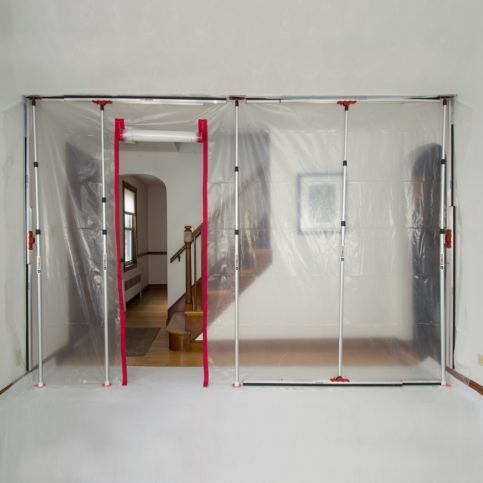 zipwall with opening showing